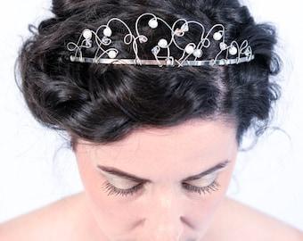 Lisa medieval inspired bridal tiara with faux pearls and Swarovski crystals