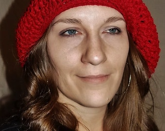 Super Slouchy Beanie - Beret Cap - Dark Red