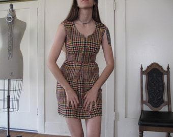 70's Plaid Mini Dress sz Sm