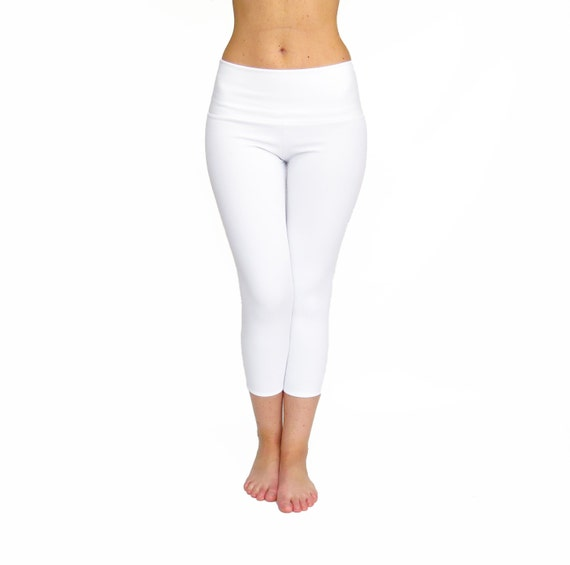 White Yoga Pants White Capri Leggings High Waist Yoga Pants