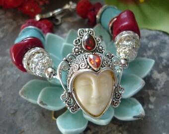 asian turquoise bracelet, tibetan bead bracelet, goddess bracelet,coral bracelet,turquoise bracelet, red and turquoise bracelet, bracelet