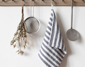 Wide Black & White Stripe Stone Washed Linen Tea Towel