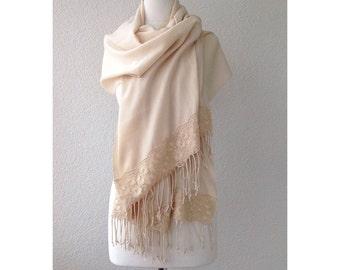 wedding shawl, bridal shawl, cream, bridesmaid gift, brides cover up, bridal scarf