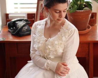 Ivory White Flower Bridal Wedding Sweater. Can be used to accessorize any clothing for any occasion
