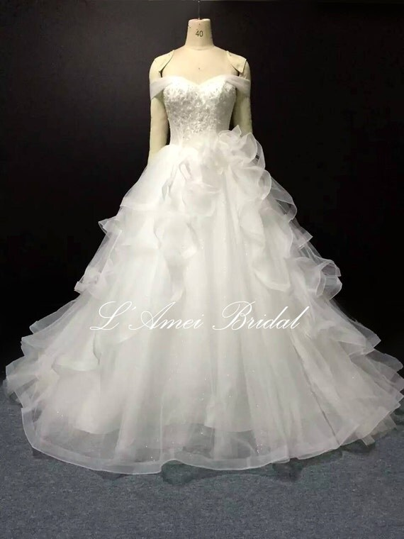 Princess Style Wedding Dress Lace : Lace off shoulder princess style bridal ball gown with up back l
