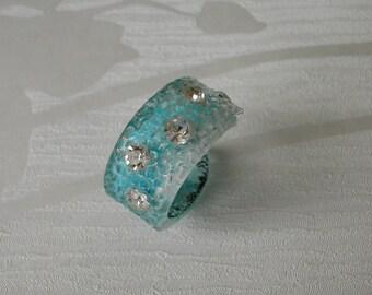 Blue ring, M.Harraca, vintage accessory, modern, Swarovski elements, gift for her