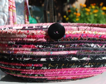 Handmade Coiled Cotton Bowl in Pinks and Black