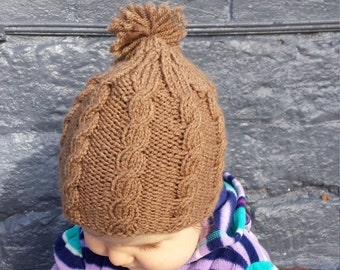 Brown Knit Cable Baby Hat