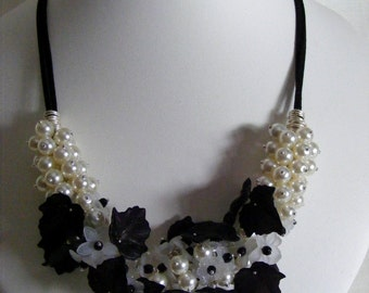 Monochrome Flowers, Leaves and Pearl Necklace