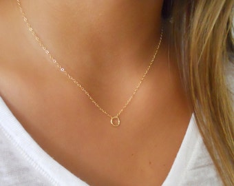 Gold Filled Necklace with A Tiny Textured Ring;  Dainty Gold Necklace; Delicate Layering Gold Necklace;