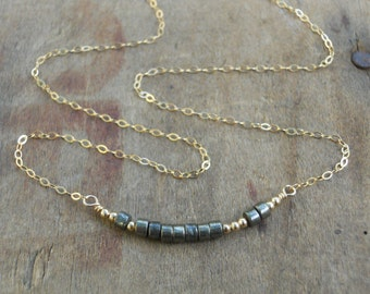 Delicate Bead Bar Necklace; Gold Filled And Pyrite Beads Necklace; Layering Gold Necklace; Gold Bar Necklace; Gold Necklace