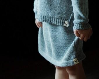 SALE Nordic skirt knitted baby alpaca skirt gray knit skirt knitted wool skirt gray skirt wool skirt knit girl skirt baby girl skirt
