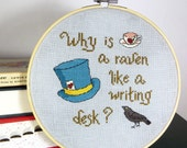 Alice in Wonderland Mad Hatter Cross-Stitch Pattern -- The Raven and the Writing Desk -- PDF Instant Download