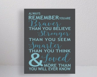 CANVAS, Always Remember You Are Braver Than You Believe Quote, Typography, Winnie the Pooh Saying,  Inspirational Gallery Canvas Print