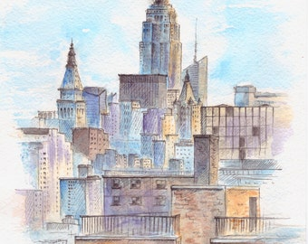 Cityscape painting. New York painting. New York city. NYC painting. Watercolor painting. Urban sketch.  Original. 8x10