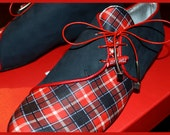 Tartan oxford shoes - flats - lace up - leather