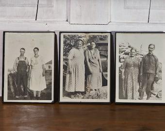 SALE: 1930s Funny Photos of Sisters, Mother Daughter Husbands, Vintage Car, Bib Overalls, Feed Sack Dresses