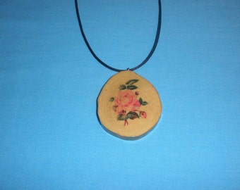 Pink Rose on Sycamore Tree Branch Slice Necklace, Handcrafted Wood Necklace, Adjustable, Rustic Wooden Gift