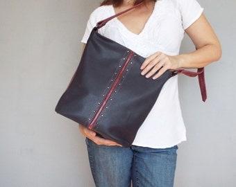 Leather hobo dark blue. Dark blue/ burgundy crossbody purse.