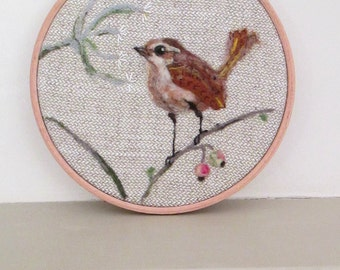 Needle felted Jenny Wren, embroidered bird picture . Needle Felted Bird interior decor