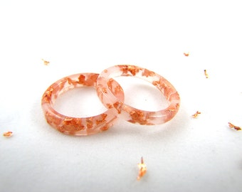 White Stacking Resin Rings with Rose Gold Flakes