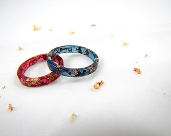 Burgundy and Azurite Stacking Resin Rings with Gold & Rose Gold Flakes
