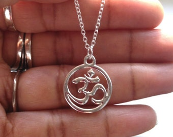 Silver Om Necklace/ Ohm Necklace/ Yoga Necklace / Yoga Jewellery/ Gift For Friend/ Gift For Her/ / Mothers Day Gift