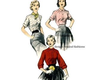 Advance 5900 1950s ROCKABILLY BLOUSE PATTERN Button Front Blouse Pleated Neckline Short or 3/4 Sleeves Bust 36 Womens Sewing Patterns 50s