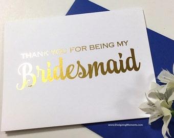 Bridesmaid Thank You Card, Gold Foil Bridal Party Bridesmaid Card, Wedding Thank You Card, Thank You Bridesmaid, Bridesmaid DM145