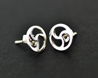 BDSM Earrings-Triskele Sterling Silver Earrings-Jewelry-Discreete-Pure Silver Stud Design.