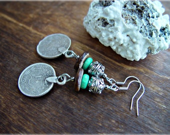 Gypsy Earrings - Boho Hippie Earrings - Ethnic Earrings - Boho Turquoise Earrings - Boho Jewelry - Yoga Earrings