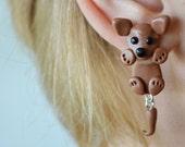 Chihuahua earrings front back earring dog earrings clinging earring animal earring fake gauge cute fake plug two part earrings jacket dangle