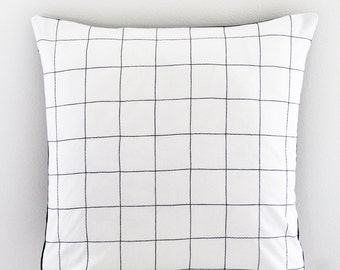 "18""x18"" Black and White Grid Decorative Throw Pillow, Cushion Cover"
