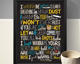 Arctic Monkeys - I Wanna Be Yours Poster, Song Lyrics Print, Music Poster, Song Lyrics