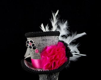 Hot Pink, Gray, and Black Shabby Chic Mad Hatter Mini Top Hat Fascinator, Alice in Wonderland, Mad Hatter Tea Party, Derby Hat