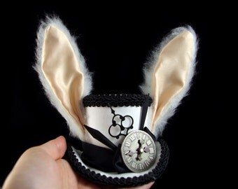 White Rabbit - Black and White Rabbit Eared Small Mini Top Hat Fascinator, Alice in Wonderland, Mad Hatter Tea Party, Derby Hat