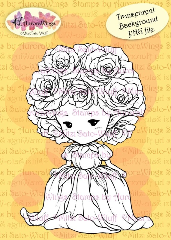 PNG Digital Stamp - Whimsical Rose Sprite - Instant Download - digistamp - Fantasy Line Art for Cards & Crafts by Mitzi Sato-Wiuff