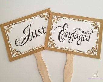 Just Engaged Photo props, Save the date signs, Personalized photo props