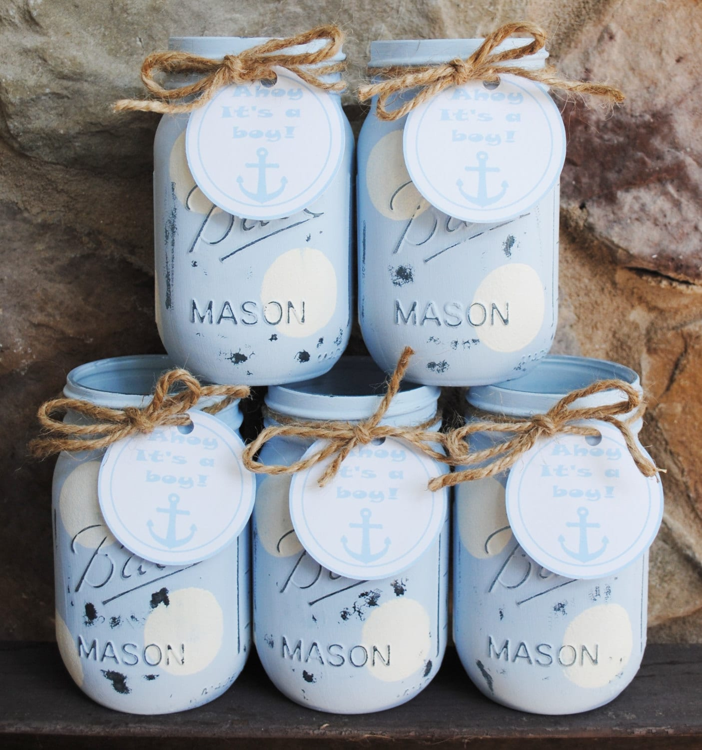 Mason Jars Boy Baby Shower Centerpieces Nautical Shower