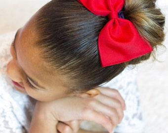 Red Hair Bow, Red Bow, Solid Red Hair Bow, Uniform Bow,  Solid Hair Bow, School Hair Bow, Large Hair Bow, Tuxedo Bow, Big Bow, Christmas Bow