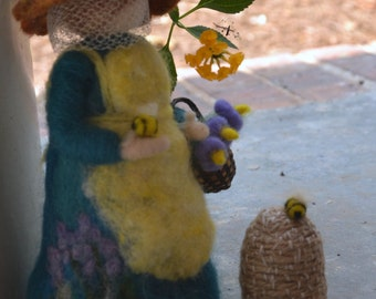 Waldorf inspired needle felted bee keeper made to order beekeeper bee skep
