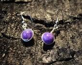Simple purple Jade drop earrings