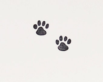 Cute tiny cat tracks stamp - Cat paw rubber stamp - Lovely small kitty cat stationery stamp for diy projects, handmade goods