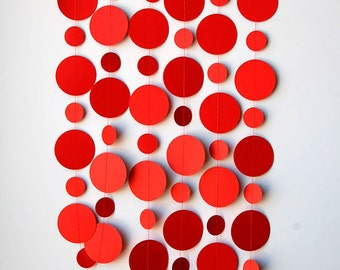 MA, Red paper garland, Red garland, Birthday decor, Red tomato garland, Party garland, Paper garland, Red Wedding, Wedding decor, K-C-0111