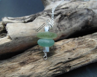 Cornish Sea Glass Stack Necklace ~ Sterling Silver ~ Cornwall