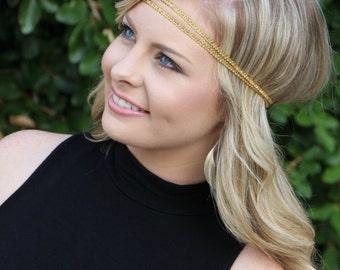 Double Strand Gold Boho - Bohemian Headband - Forehead Headband - Hippie Headband - Halo Headband - Boho Gold Headband - Double Strand