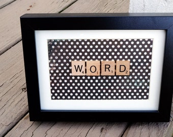 Personalized Scrabble Word Frame | Choose Word up to 7 Letters | Black Frame, White Matting, Polka Dot Background | Custom Word
