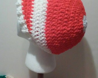 Red and White Hat Crochet Hat, Red and White-Striped Crochet Slouchy Beanie, Red and White Beanie, FREE SHIPPING, Ready to Ship, B40-918