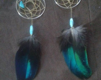 CUSTOM dream catcher earrings with real feathers, sinew, beads