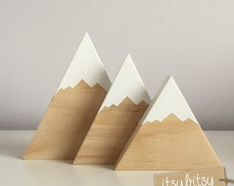 Baby Gift, Wooden Mountains Set Of 2 Or 3, Nursery Decor, Kids Decor
